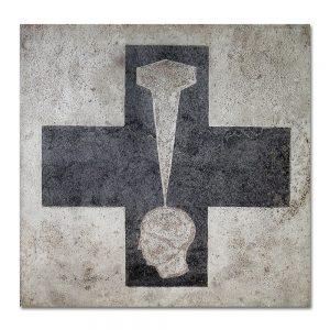 Brut # 1_Cruz_Clavo Aguafuerte sobre plancha de hierro. 25x25x0,5 cm.