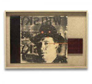 Callejón de malta. Monotipo, pintura y collage sobre madera. 43×63 cm.