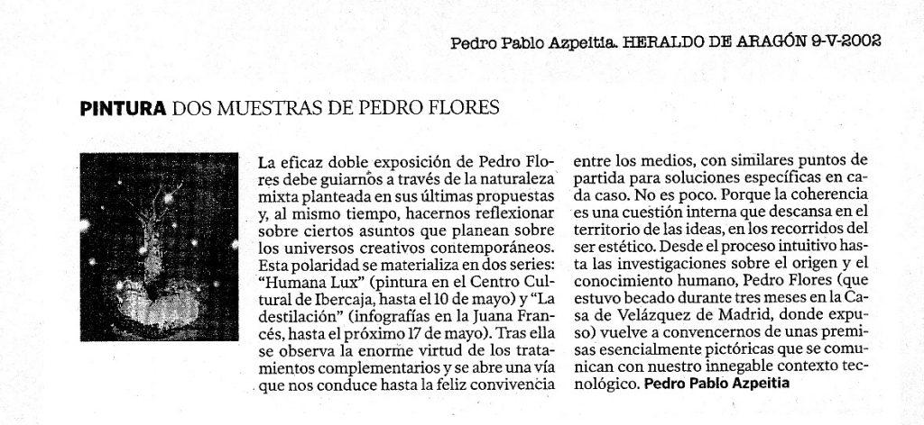Crítica exposición La Destilación en Heraldo de Aragón
