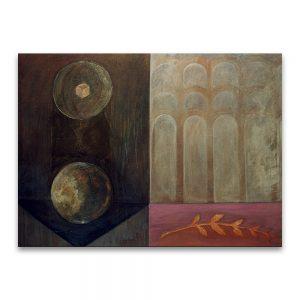 Primera piedra (delirio de continuidad). Técnica mixta sobre lienzo. 97×130 cm.