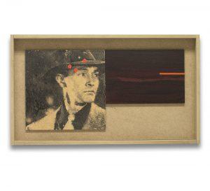 El sueño eterno # 2. Monotipo, pintura y collage sobre madera. 28×50 cm