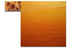 Esencia. Técnica mixta sobre madera, impresión digital sobre lienzo. 120×157 cm.