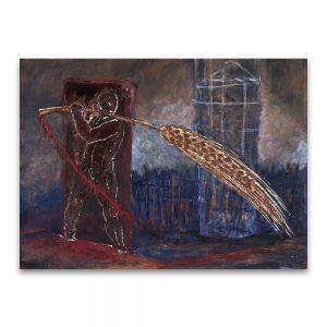 1990: VII CERTAMEN JUVENIL ARAGONÉS DE ARTES PLÁSTICAS. Accésit Dibujo. Futuro imperfecto. Técnica mixta sobre papel. 50×70 cm.