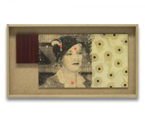 Perlas. Monotipo, pintura y collage sobre madera. 28×52 cm.