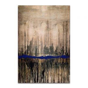 Puente de una naturaleza abrasada a una ciudad en llamas. Técnica mixta sobre lienzo. 146×97 cm.