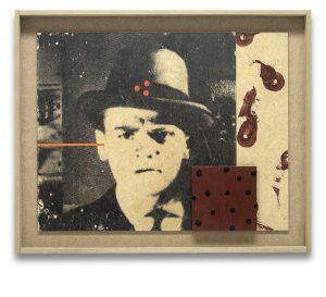 Ráfaga. Monotipo, pintura y collage sobre madera. 43×53 cm.