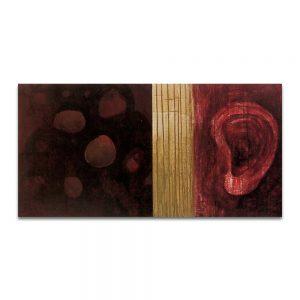 Ruidos. Técnica mixta sobre madera y papel. 60x120 cm.