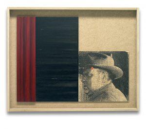 Sed de mal. Monotipo, pintura y collage sobre madera. 43×55 cm.