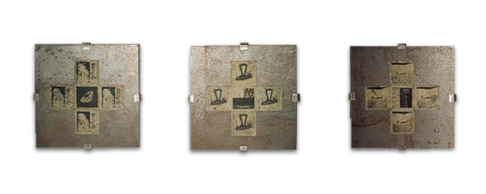 BRUT # 1. Módulos de planchas de hierro 25x25x0,5cm. y planchas litográficas 6x6cm.