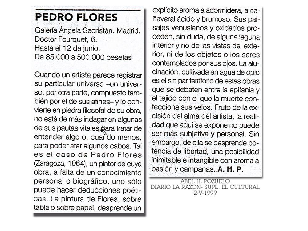 Crítica de la exposición de Pedro Flores en galería Ángela Sacristán