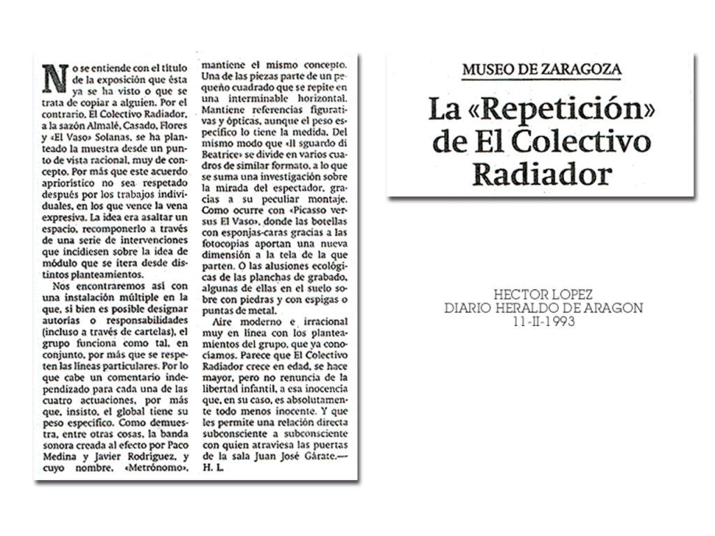 Crítica de la exposición Repetición 1 en Heraldo de Aragón