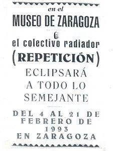 Programa de mano de la exposición Repetición 1, impreso en papel de pescadería.
