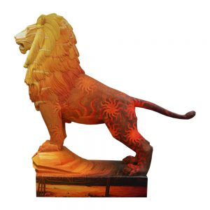 El león como símbolo pintado. Vista izquierda.