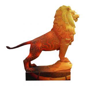 El león como símbolo pintado. Vista derecha.