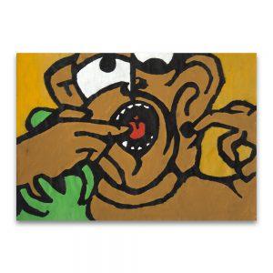 El mono. Acrílico y tinta de imprenta sobre papel de pescadería. 30x40 cm.