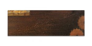 Istmos # 1. Técnica mixta sobre madera, aguafuerte sobre hierro. 40x120 cm.