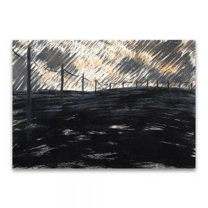 Paisaje con postes. Técnica mixta sobre papel. 25x32 cm.