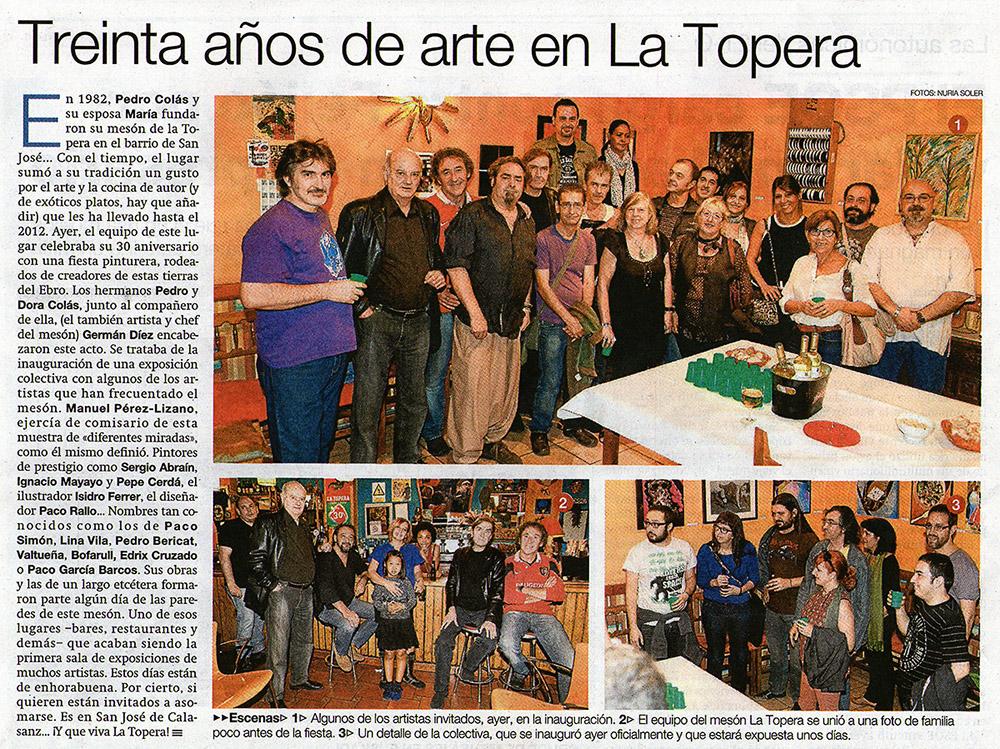 30 años de arte en La Topera. El Periódico de Aragón.