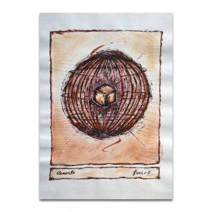 Elemento Tierra. Técnica mixta sobre papel. 45×32 cm.