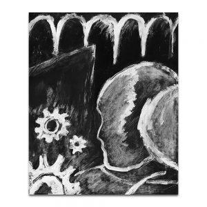 """Ilustración para el cartel de la exposición """"Hijos de la memoria maldita"""". Tinta y acrílico sobre papel. 1990"""