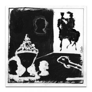 """Ilustración para el díptico de la exposición """"La Baraja Española"""". Tinta y acrílico sobre papel. 1990"""