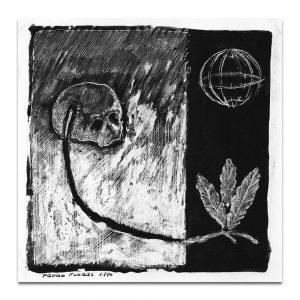 """Ilustración para el tríptico de la exposición """"Cabezas, vasos, hojas"""". Tinta y acrílico sobre papel. 1990."""