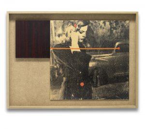 El sueño eterno # 1. Monotipo, pintura y collage sobre madera. 43×59 cm.