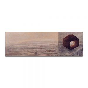 Éxodo. Técnica mixta sobre madera. 18x55 cm.