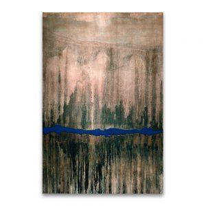 1992: I CERTAMEN DE PINTURA FUNDACION NUEVA EMPRESA. Premio Joven Pintor Aragonés. Puente de una naturaleza abrasada a una ciudad en llamas. Técnica mixta sobre lienzo. 146×97 cm.