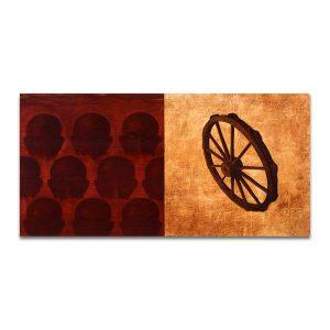 Puta fortuna. Técnica mixta sobre madera y papel. 75x150 cm.