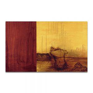 Tierra roja. Técnica mixta sobre madera. 75 x 120 cm.