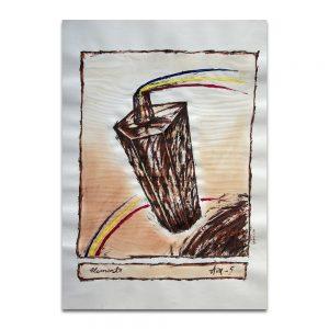Elemento Aire. Técnica mixta sobre papel. 45×32 cm.