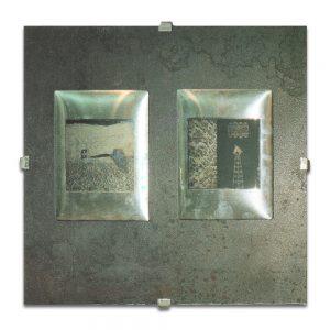 BRUT # 1. Módulo de planchas litográficas 10x10cm y planchas de aluminio 18x13 cm. Planchas de hierro 40x40x0,5 cms.