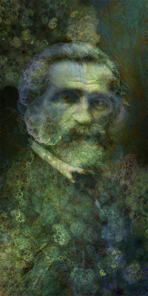 Sinfonía fractal en Verdi. Collage digital.