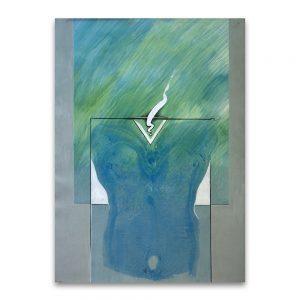 Torso azul. Técnica mixta sobre papel. 70x50 cm.